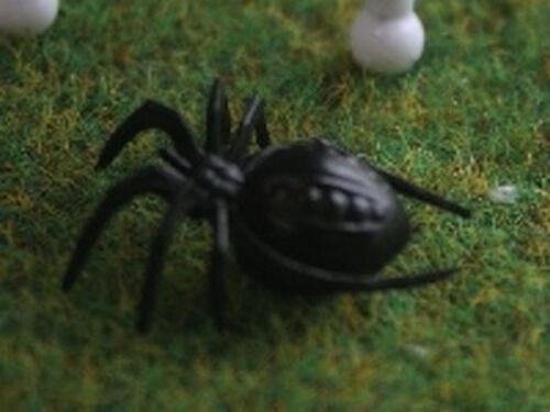 3 NERO RAGNI MINIATURES da esterni giardino insetti Regno Unito inquietante viscidi Halloween