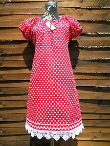 47837615ced Punkte Dots Kleid Tunika Rockabilly Gr. 42 kurz arm Kleid rot weiß ...