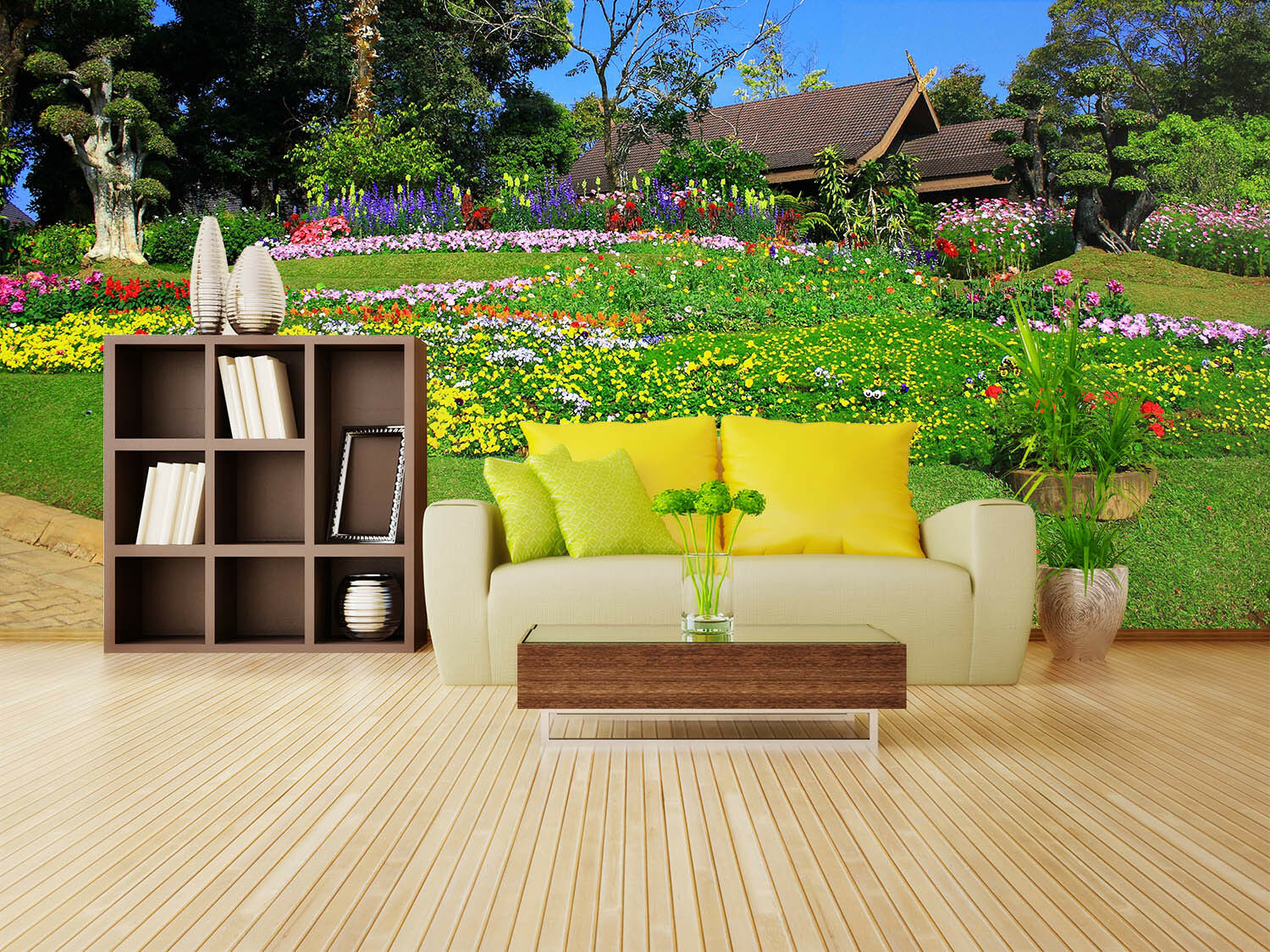 3D Grass Flower 463 Wallpaper Murals Wall Print Wallpaper Mural AJ WALL AU Lemon
