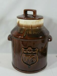 VINTAGE-McCOY-7019-MID-CENTURY-BROWNISH-COLOR-BI-CENTENTIAL1975-COOKIE-JAR-W-LID