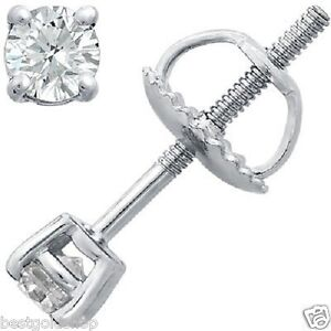1-4-tcw-3-2mm-Round-Cut-Four-Prong-Diamond-Stud-Earrings-14k-White-Gold