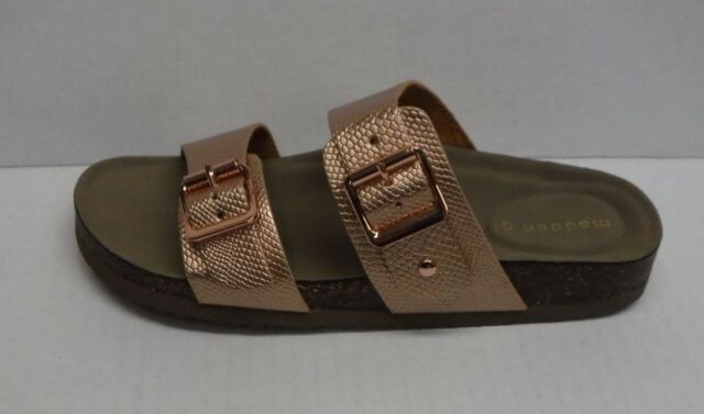 b3eb16667e80 Madden Girl Brando Double Strap Footbed Women s Sandals Metallic Rose Gold  7m