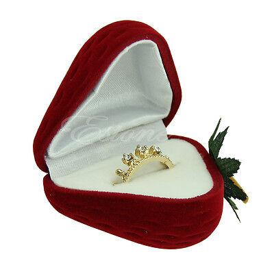 Cute Strawberry Flocking Ring Box Earring Pendant Jewelry Case Stud Storage Gift