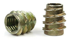 Brass threaded Inserts for wood 100 pack M6x9.5diax12lg