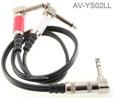 """2ft 1/4"""" TRS Stereo Plug to Dual 1/4"""" TS Mono Plugs Right-Angle Audio Cable"""