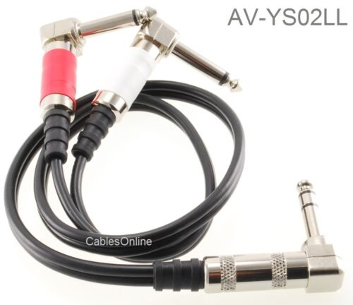"""2ft 1//4/"""" TRS Stereo Plug to Dual 1//4/"""" TS Mono Plugs Right-Angle Audio Cable"""