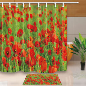 Image Is Loading Beautiful Poppies Shower Curtain Home Bathroom Decor Fabric