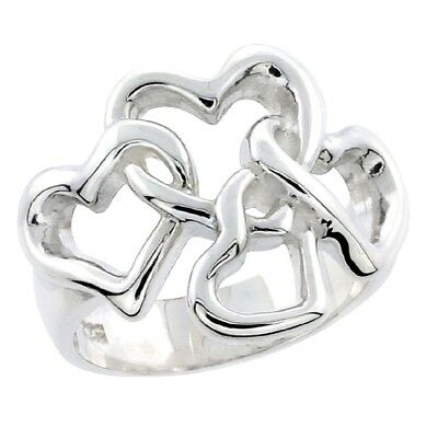 High Polished Flawless Quality Sterling Silver 4 linked Hearts Ladies Ring