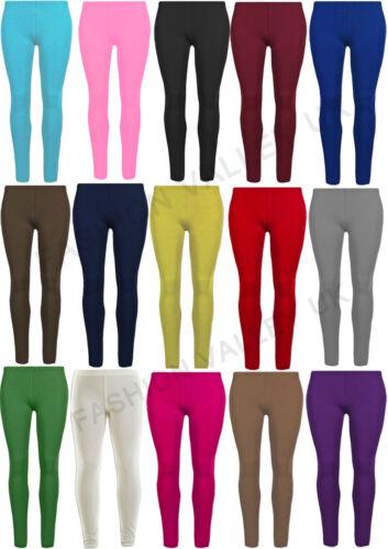 NUOVO Ragazze Tinta Unita Viscosa Leggings Bambini elastico Legging Pants Taglia 2-13 anni