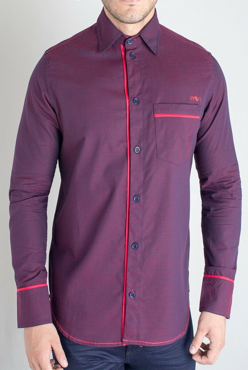 Pavi  shirt red 11-0107 for men