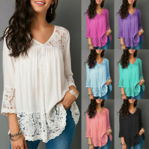 Casual-Sexy-Womens-Floral-Lace-V-Neck-3-4-Sleeve-Blouse-Tops-Summer-TShirt-N2009