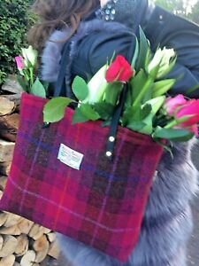 Pink-Harris-tweed-handbag-tartan-bag-womens-gift-for-her-Scottish-gift-bag-purse