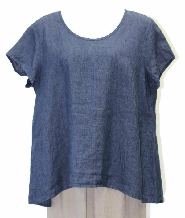 Flax Designs Blossom chemisier Neuf Avec Étiquettes Denim Yarn Dye Lin L 3X
