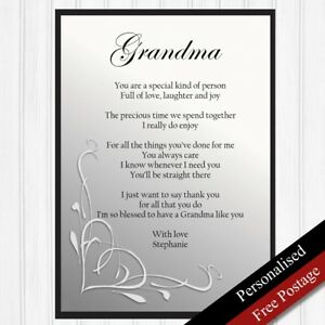 Grandma Gift Personalised Birthday Gift For Grandmother Keepsake