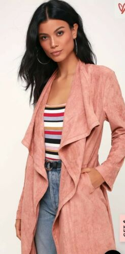 LULUS CITY OF TREES MAUVE PINK SUEDE TRENCH JACKET