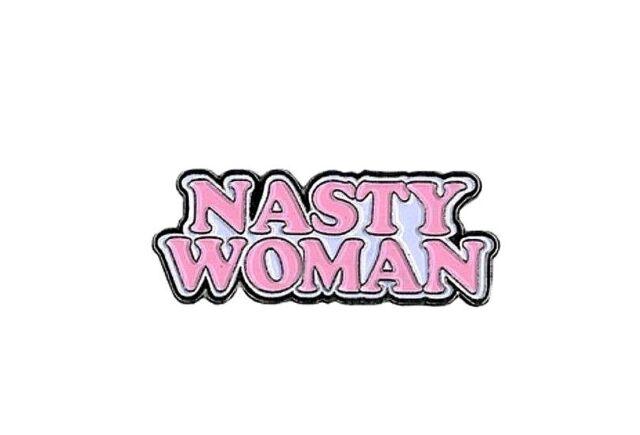 """Pink & White NASTY WOMAN 1-1/4"""" x 5/8"""" Enamel Pin (#1022)"""