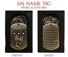 """SAJ"" Mens Arabic Name Necklace Tag - Birthday Wedding Ayatul Kursi Eid Gifts"