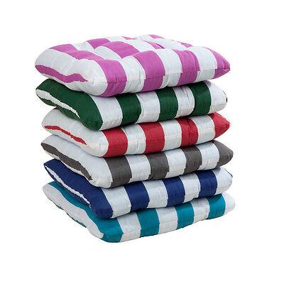Stuhlkissen Sitzkissen Kissen mit Blockstreifen und Befestigungsbändern 6 Farben