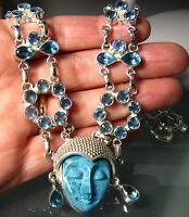 925 Silver Sale 66gr Hand Carved Agate Face & Cut Blue Topaz Necklace.