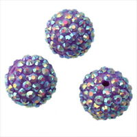 15x 110135+ Purple AB Resin Rhinestones Charms Spacer Ball Beads 18mm Free Ship
