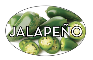 """Jalapeno Bakery Flavor Store Food 2/"""" X 1.25/"""" Oval Labels Stickers 500 each"""