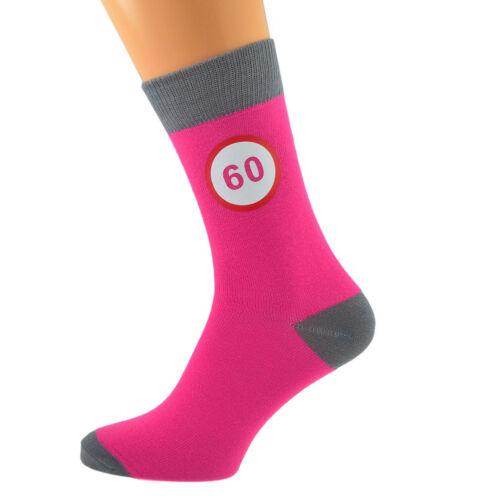 Hot Pink /& Grey Unisexe Chaussettes panneau routier 60th Anniversaire X6N589