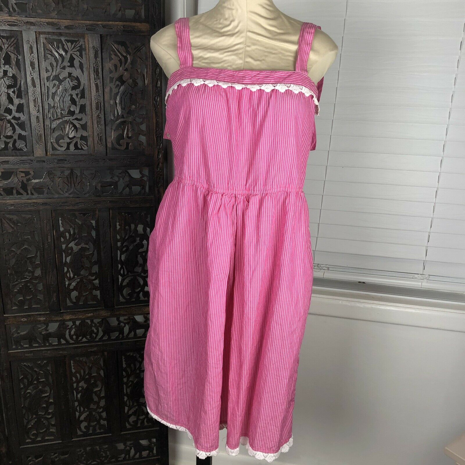 Vintage Diane Von Furstenberg Dress 8 Pink Stripe Lace Trim Keyhole Cotton Korea
