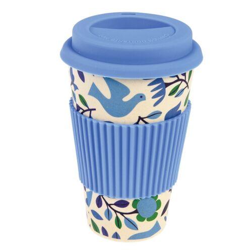 ECO FRIENDLY BAMBOO Folk Doves Design Reusable Travel Coffee Mug Cup