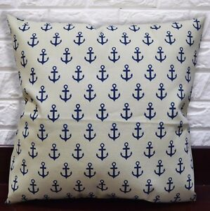 AL266t Dp Blue Beige Anchor Cotton Canvas 3D Box Seat Cushion Cover Custom Size