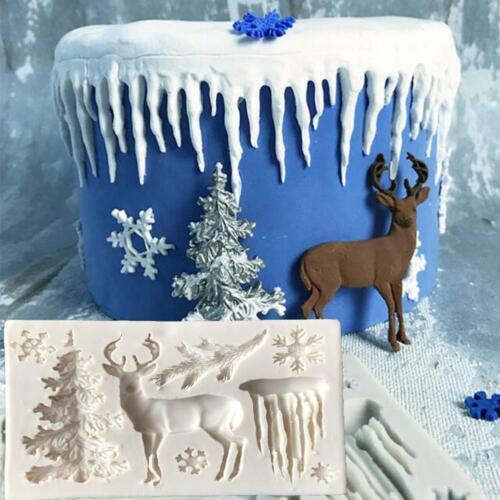 DIY Kuchen Dekorieren Tool Weihnachtsbaum Elch Schneeflocke Sugarcraft Cookie v