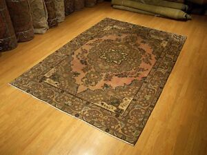 6-6-x-10-VINTAGE-Handmade-Antique-Kurdish-Anatolian-Wool-Rug-Mutted-Colors