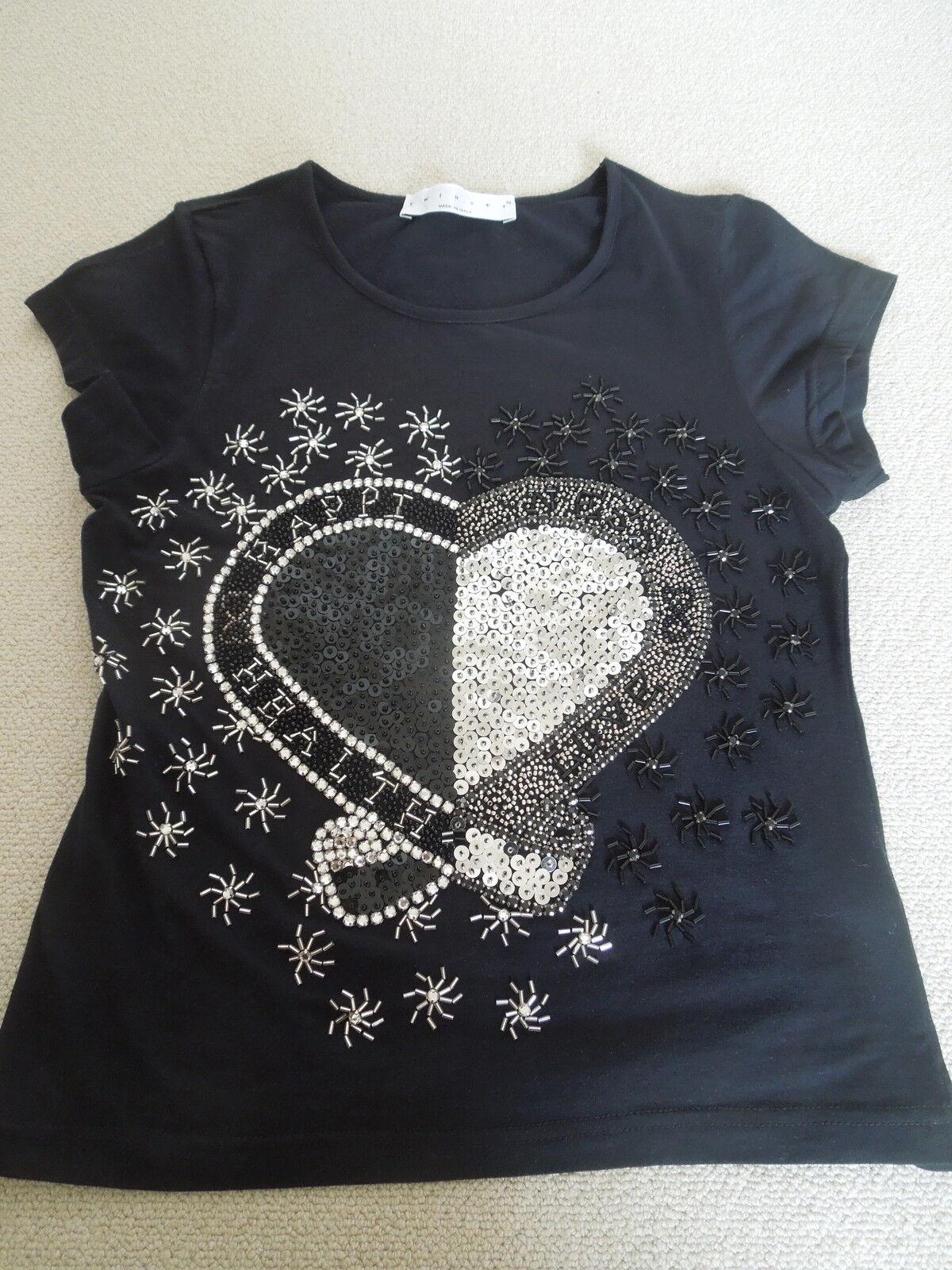 TWIN-SET Simona Barbieri Shirt - schwarz - Pailetten Herz - festlich  - Neu