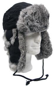 Bonnet-en-fourrure-noir-CHAPEAU-DE-D-039-Hiver-Hiver-a-doublure-chaude-femme-homme