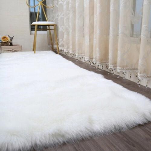 Faux Fur Area Rug Hairy Shaggy Rug White Large Faux Sheepskin Carpet Washable