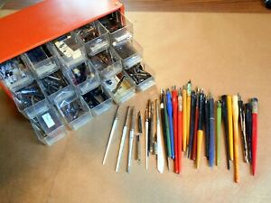 Estate-LOT-Calligraphy-DIP-Pens-amp-100s-of-Nibs-Cabinet-14K-MUSIC-Figural-ExC