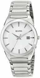 Bulova 96B015 Men's Stainless Steel Bracelet Date Dress Watch