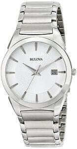 Bulova Men's 96B015 Quartz Silver-Tone Stainless Steel Bracelet 38mm Watch