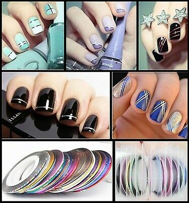 10X Sticker Fil Bandes Striping Tape Autocollant Manucure Ongle Nail Art Tips