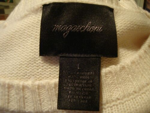 Details about  /MAGASCHONI,NWT,NEW WHITE,CASHMERE//WOOL,BEADED//EMBROIDERED SWEATER WOMEN/'S LARGE