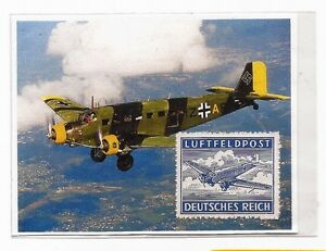 WW2 Nazi Germany Third Reich Junkers 52 Luftpost airplane Feldpost stamp MNH