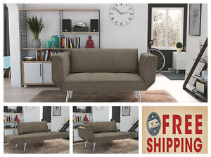 Futon Sleeper Loveseat Twin Sofa Dorm Furniture Gray Couch Bed Chair Room fice