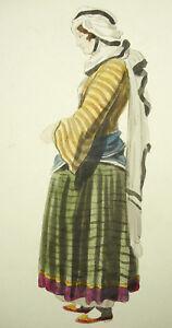 Costume-Turco-Tradsitionnel-XIX-Donna-c1880-60-Disegno-Originale-Turchia-Turquey