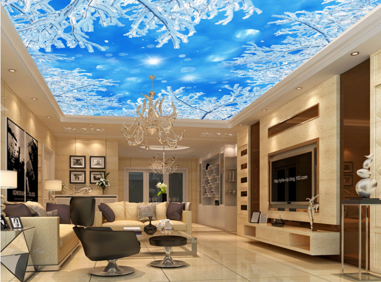3D Shiny Snow Tree 7 Ceiling WallPaper Murals Wall Print Decal Deco AJ WALLPAPER