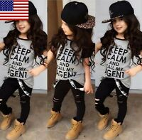 Us Stock Boutique Toddler Kids Girl Tops Pants Leggings Outfits 2pcs Set Clothes