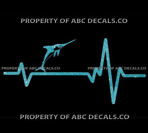 VRS HEART BEAT LINE FISHING Marlin Deep Sea Rod Reel Pole Lure CAR METAL DECAL