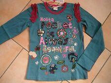 (166) Nolita Pocket Girls Langarm Shirt + Logo Stickerei + Druck & Besatz gr.98