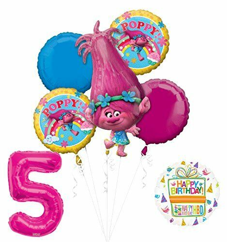 Trolls Poppy 5th Birthday Party Supplies And Balloon Bouquet Decorations