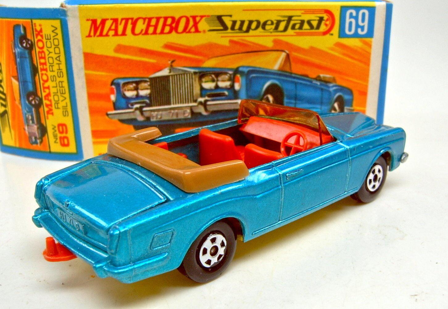 Matchbox SF SF SF Nr.69A Rolls Royce Cabrio blaumetallic dunkelgelbe Bodenplatte  | Große Klassifizierung  15cf09