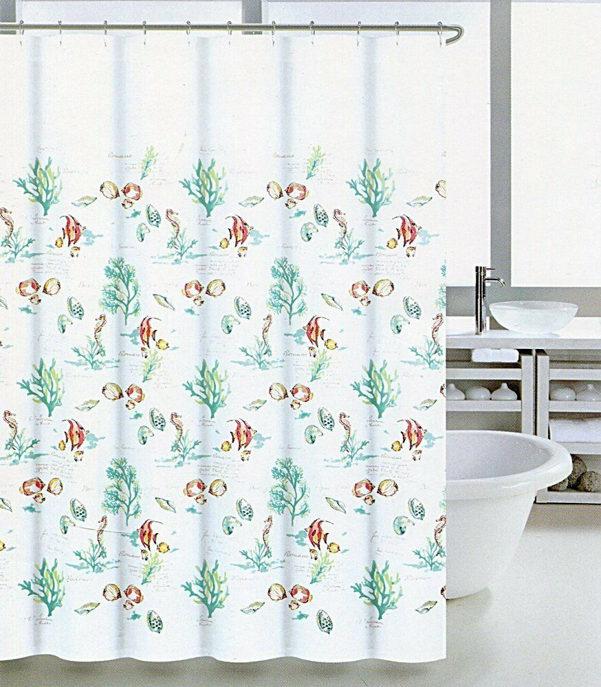 Coastal Collection Shower Curtain Coral Reef Ombre 72 X C3a348
