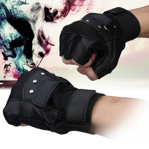 Men Soft Sheep Leather Driving Motorcycle Biker Fingerless Warm Gloves